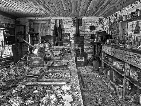 Miner Print featuring the photograph 1860's Ore Assay Office Shop - Montana by Daniel Hagerman
