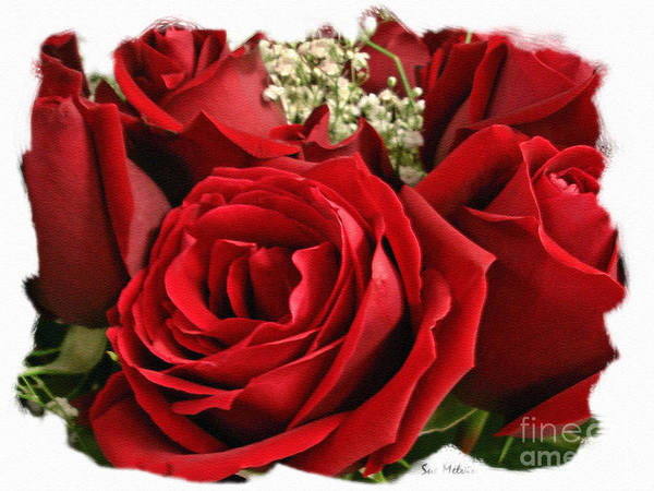 Rose Print featuring the photograph A Bouquet Of Red Roses by Sue Melvin