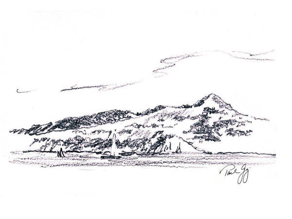 Angel Island Print featuring the painting Angel Island From Sausalito by Paul Gaj