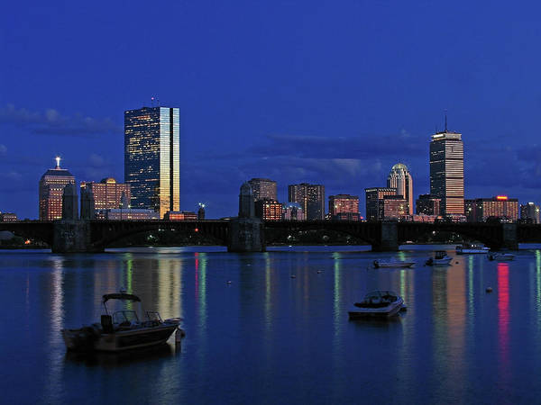 Boston Skyline Print featuring the photograph Boston City Lights by Juergen Roth