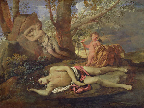 Echo Print featuring the painting Echo And Narcissus by Nicolas Poussin
