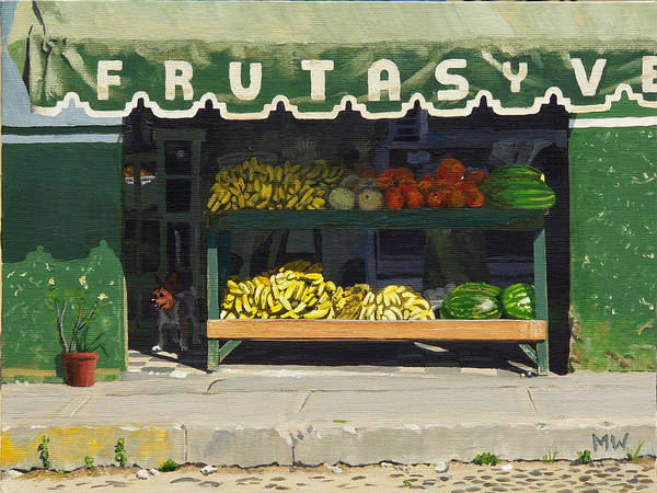 Market In Puerto Vallarta Mexico. Dog Added. Print featuring the painting Frutas Y by Michael Ward