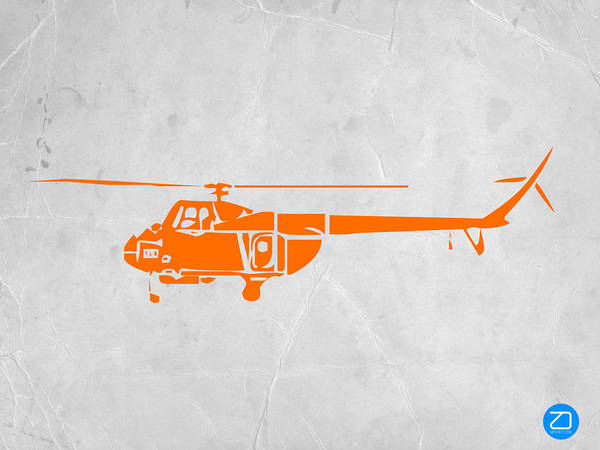 Helicopter Print featuring the painting Helicopter by Naxart Studio