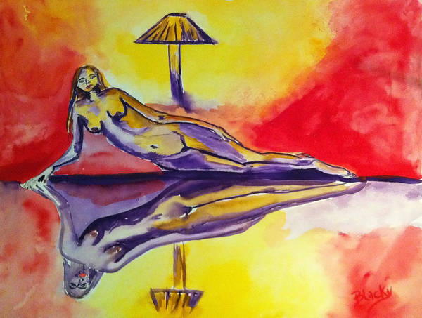 Woman Print featuring the painting Inner Reflections by Donna Blackhall