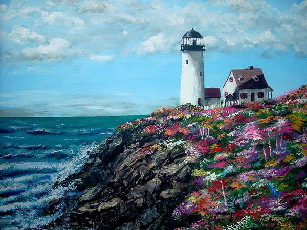 Lighthouse Sea Print featuring the painting Lighthouse At Flower Point by Jack Skinner