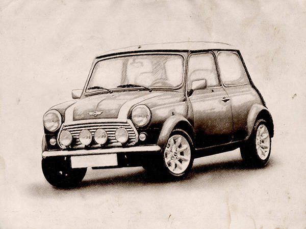Mini Cooper Print featuring the drawing Mini Cooper Sketch by Michael Tompsett