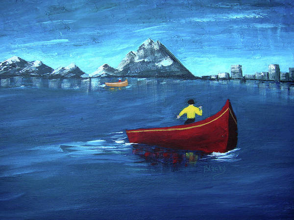 Boat Print featuring the painting No Paddle by Donna Blackhall
