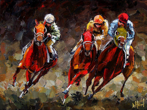 Horse Race Print featuring the painting Opening Day by Debra Hurd