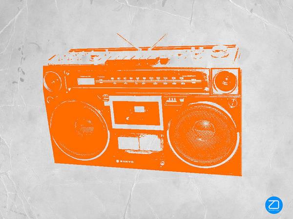 Print featuring the painting Orange Boombox by Naxart Studio