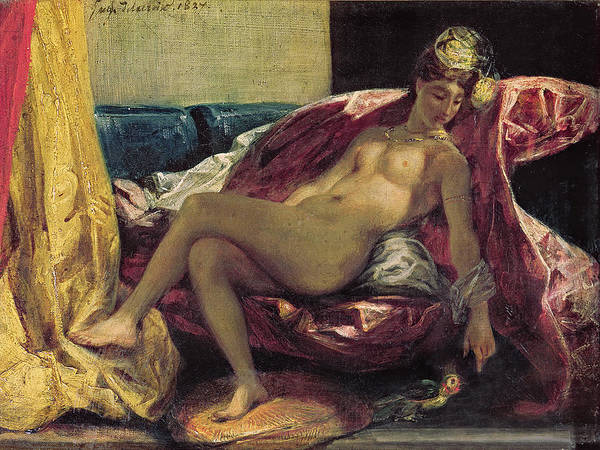 Reclining Print featuring the painting Reclining Odalisque by Ferdinand Victor Eugene Delacroix
