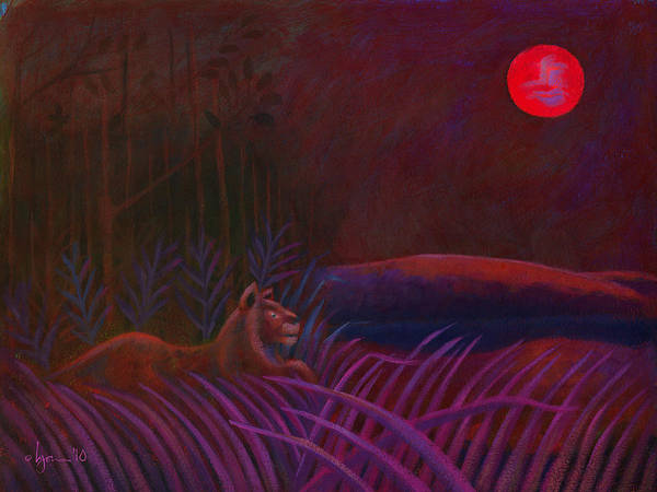 Lions Print featuring the painting Red Night Painting 48 by Angela Treat Lyon
