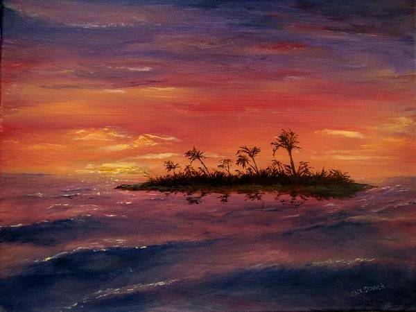 Sunset Print featuring the painting South Pacific Atoll by Jack Skinner