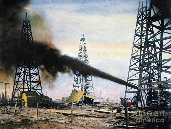 1906 Print featuring the photograph Spindletop Oil Pool, C1906 by Granger