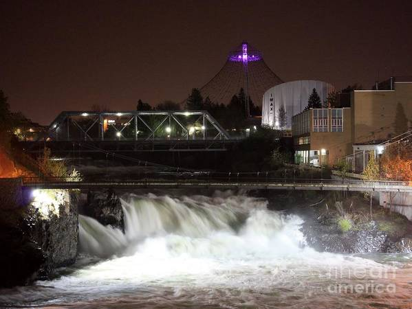 Spokane Print featuring the photograph Spokane Falls Night Scene by Carol Groenen