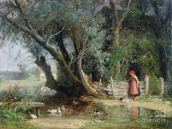 The Duck Pond By Eduard Heinel (1835-95) Print featuring the painting The Duck Pond by Eduard Heinel