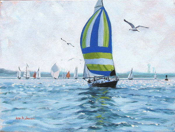Oil Painting Print featuring the painting The Great Race 06 by Laura Lee Zanghetti