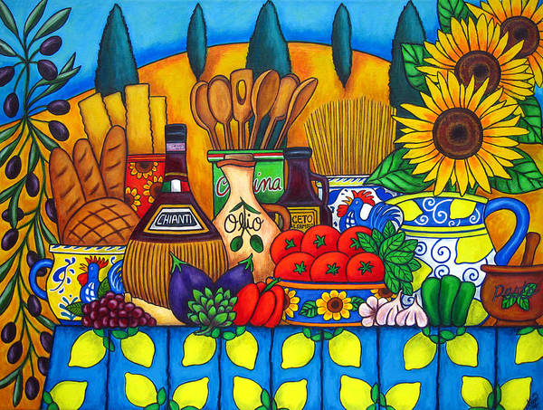 Still Life Print featuring the painting Tuscany Delights by Lisa Lorenz