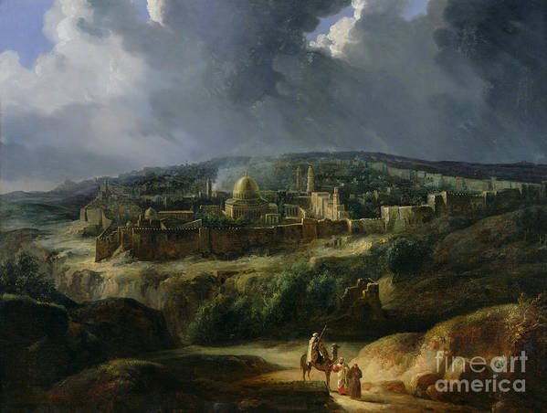 Jerusalem Print featuring the painting View Of Jerusalem From The Valley Of Jehoshaphat by Auguste Forbin