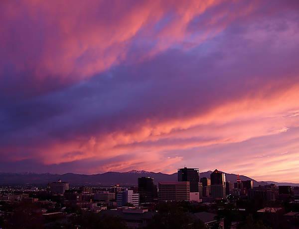 Salt Lake City Print featuring the photograph Salt Lake City Sunset by Rona Black