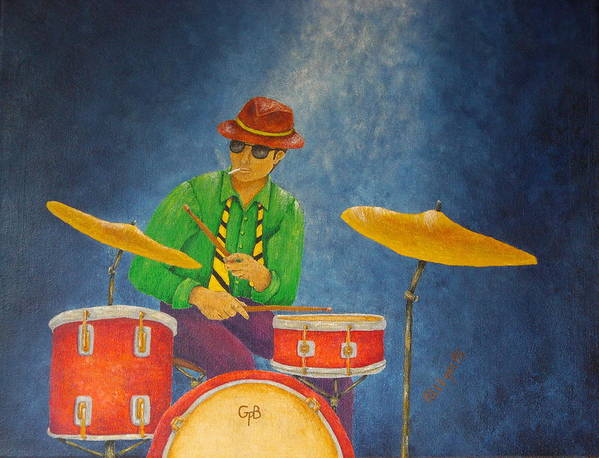 Pamela Allegretto-franz Print featuring the painting Jazz Drummer by Pamela Allegretto