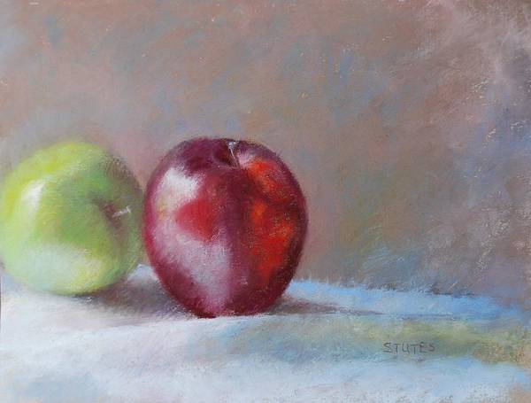 Still Life Print featuring the pastel Apples by Nancy Stutes