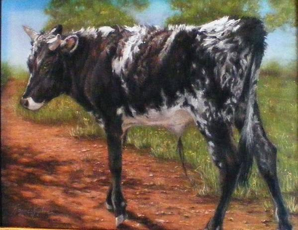 Animals Print featuring the pastel Black And White Shorthorn Steer by Denise Horne-Kaplan