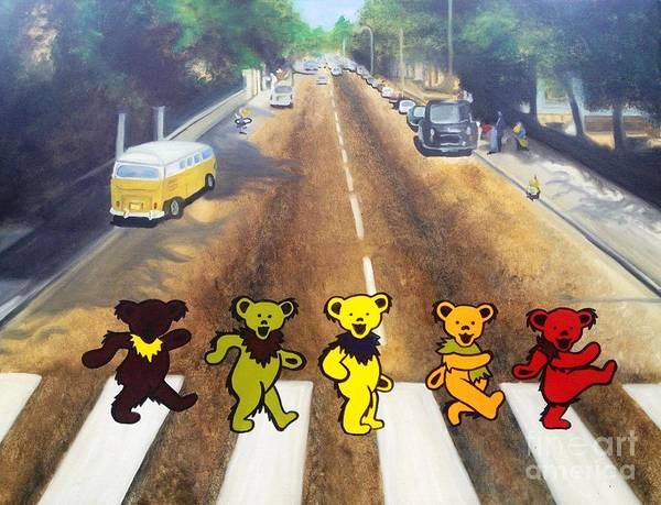 Beatles Print featuring the painting Dead On Abbey Road by Jen Santa