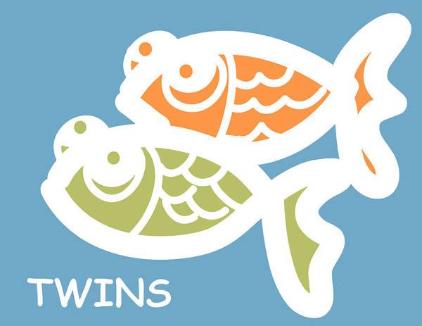 Twin Print featuring the digital art Fraternal Twins - Baby Room Art by Nursery Art