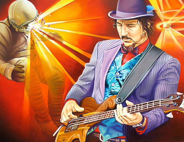 Les Claypool Print featuring the painting Les Claypool's-sonic Boom by Joshua Morton