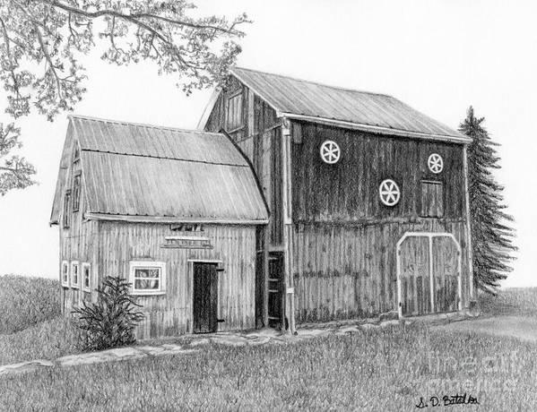 Barns Print featuring the drawing Old Barn by Sarah Batalka