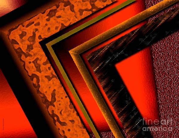 Orange Print featuring the digital art Orange And Brown by Mario Perez