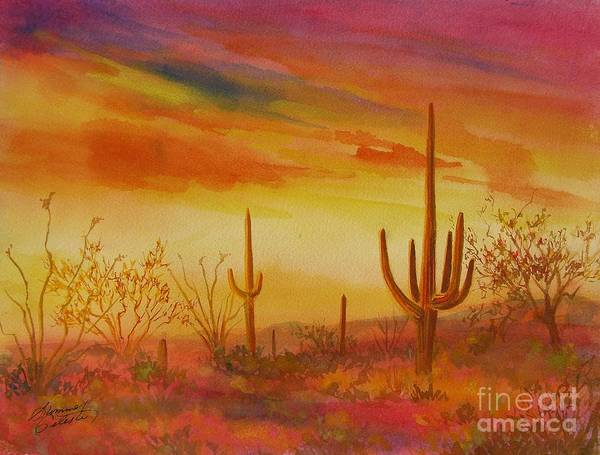 Desert Print featuring the painting Orange Sunset by Summer Celeste