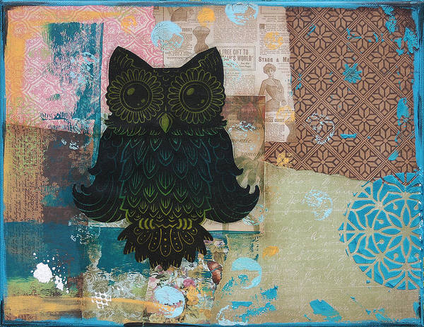 Mixed Media Owl Print featuring the mixed media Owl Of Wisdom by Kyle Wood