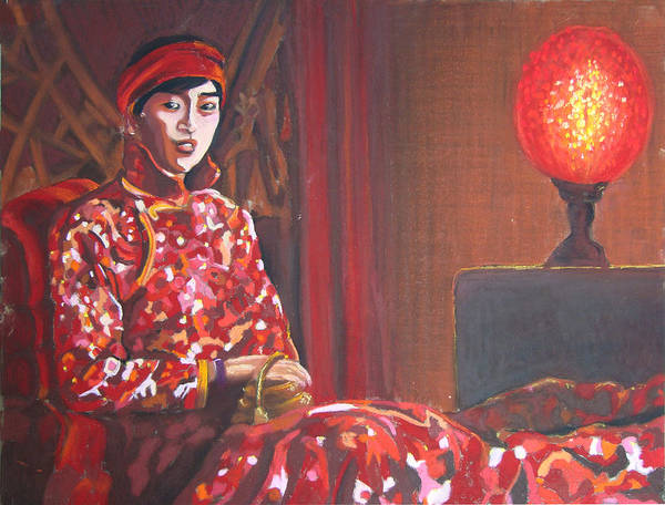 Chinese Print featuring the pastel Raise The Red Lantern by Karen Coggeshall