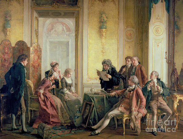 Interior Victorian Sentiment Print featuring the painting Reading The Will by Otto Erdmann
