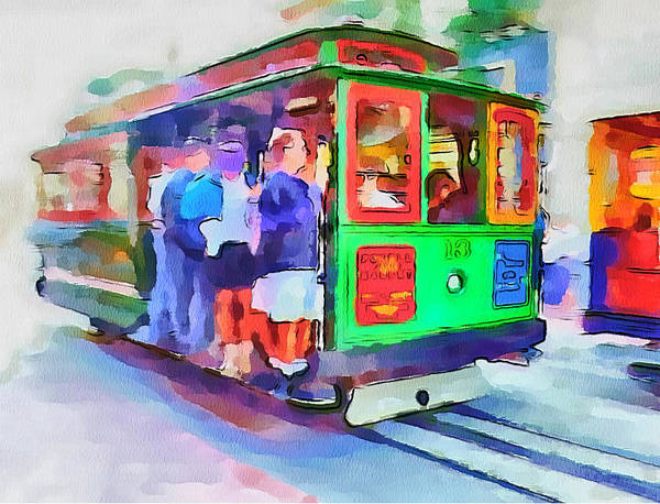 San Print featuring the digital art San Francisco Trams 3 by Yury Malkov