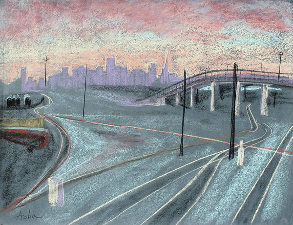 Industrial Landscape; Chalk Pastel Painting; Urban Landscape; Asha Carolyn Young Landscape; Pastel Drawing; Pastel Sketch Print featuring the painting Soft Sunset Over San Francisco And Oakland Train Tracks by Asha Carolyn Young