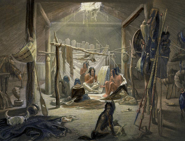 Native American Indian; Peacepipe ;wigwam; Warrior; Dogs; Huskies; Tipi; Weapons; Gathering; Peace Pipe Print featuring the painting The Interior Of A Hut Of A Mandan Chief by Karl Bodmer