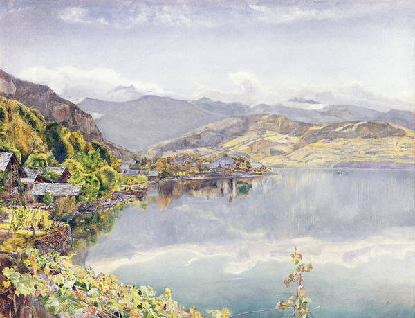 Swiss Landscape Print featuring the drawing The Lake Of Lucerne, Mount Pilatus by John William Inchbold