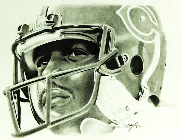 Walter Payton Print featuring the drawing Walter Payton by Don Medina