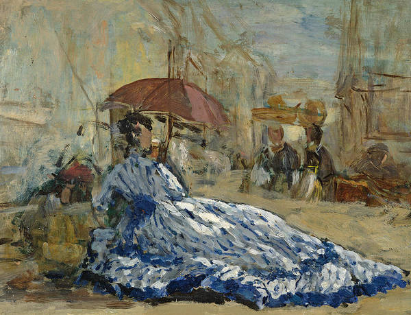 Boudin Print featuring the painting Woman In A Blue Dress Under A Parasol by Eugene Louis Boudin