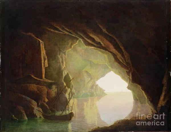 Grotto Print featuring the painting A Grotto In The Gulf Of Salerno - Sunset by Joseph Wright of Derby