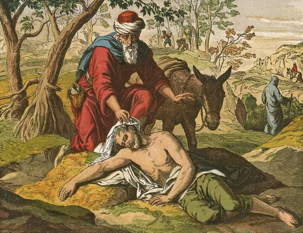 Jesus Christ; Bible; Life; Lessons; Good Samaritan; Parable Print featuring the painting The Good Samaritan by English School