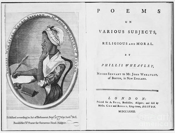History Print featuring the photograph Phillis Wheatley, African-american Poet by Photo Researchers