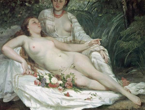 Female; Reclining; Relaxing; Bather; Flowers; Pearl Necklace; Lesbian; Lesbians; Sapphic; Red Hair; Courbet Print featuring the painting Bathers Or Two Nude Women by Gustave Courbet