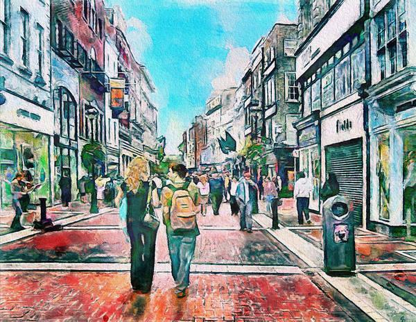 Dublin Print featuring the photograph Dublin Grafton Street by Yury Malkov