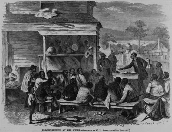 History Print featuring the photograph Electioneering In The South In Summer by Everett