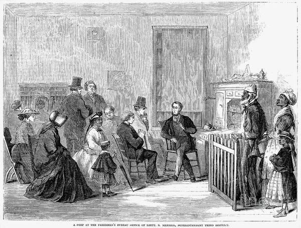 1867 Print featuring the photograph Freedmens Bureau, 1867 by Granger