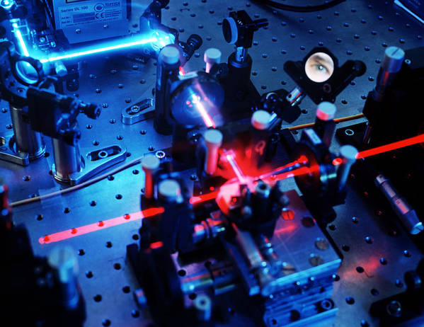 Physics Print featuring the photograph Quantum Cryptography Equipment by Volker Steger