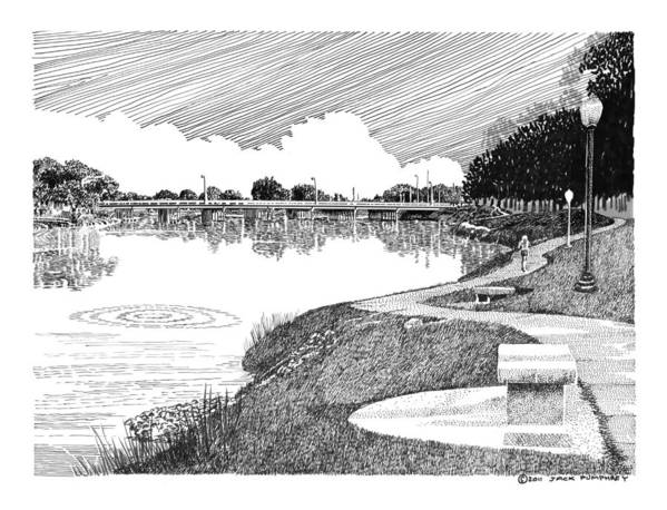 Framed Prints And Note Cards Of Ink Drawings Of Scenic Southern New Mexico. Framed Canvas Prints Of Pen And Ink Images Of Southern New Mexico. Black And White Art Of Southern New Mexico Print featuring the drawing Riverwalk On The Pecos by Jack Pumphrey